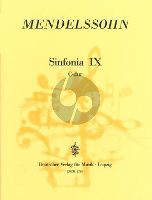 Mendelssohn Jugendsinfonie No .9 C-dur MWV N 9 Streichorchester (Partitur) (Hellmuth Christian Wolff)