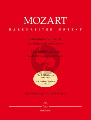 Mozart Konzert KV 622 Klarinette-Orchester (KA) (Klar.in Bb) (ed. Martin Schelhaas) (Barenreiter-Urtext)