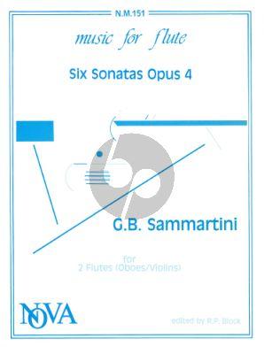 Sammartini 6 Sonatas Op.4 2 Flutes (or Violin/Oboes) (edited by Robert Paul Block)
