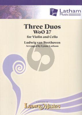 Beethoven 3 Duos WoO27 Violin-Violoncello (Score/Parts)