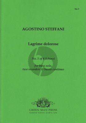Steffani Lagrime dolorose Bass solo (G-e'), 2 Recorders (flauti)-Bc Score/Parts (edited by Cedric Lee)