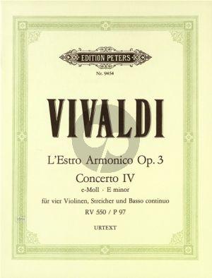 Vivaldi Concerto e-moll Op.3 No.4 RV 550 (P.97) 4 Violinen-Str.-Bc Partitur