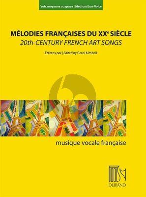 Mélodies françaises du XXe Siècle (20th Century French Art Songs) Medium-Low Voice-Piano