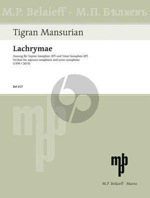 Mansurian Lachrymae Soprano- and Tenor Sax.