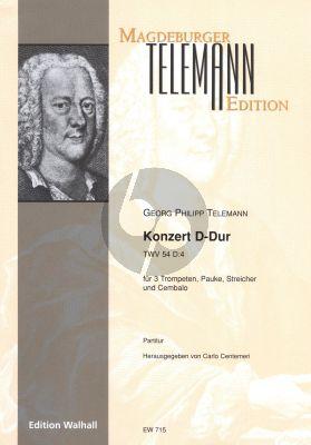 Telemann Konzert D-Dur TWV 54:D4 3 Trompeten-Pauke-Streicher-Cembalo Partitur