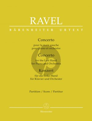 Ravel Concerto for the Left Hand for Piano and Orchestra Full Score