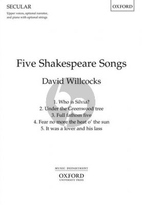 Willcocks Five Shakespeare Songs SSA (narrator opt.)-Piano