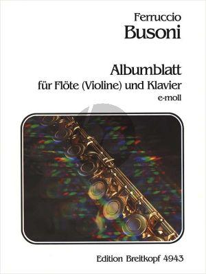 Busoni Albumblatt e-moll BV 272 Flöte[Violine]-Klavier