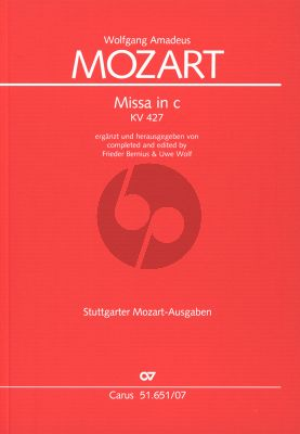 Mozart Mass c-minor KV 427 Soli-Choir-Orch. Study Score (completed and edited by Frieder Bernius & Uwe Wolf)