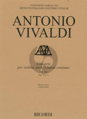 Vivaldi Concerto g-minor RV 324 (Op.VI/1) Violin-Strings-Bc Score (edited by Alessandro Borin)