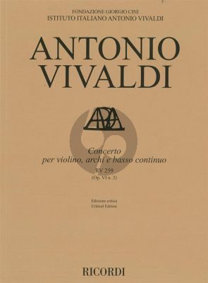 Vivaldi Concerto E-flat major RV 259 (Op.VI/2) Violin-Strings-Bc Score (edited by Alessandro Borin)