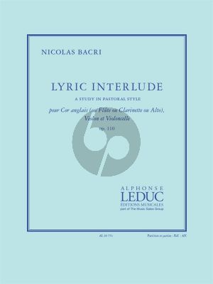 Bacri Lyric Interlude Op.110 Cor Anglais (or Flute/Clarinet/Viola)-Violin and Violoncello (Score/Parts)