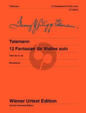 telemann 12 Fantasien TWV 40:14-25 Violine solo (ed. Bernhard Moosbauer) (Wiener-Urtext)