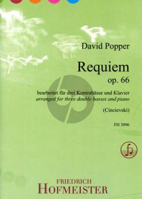 Popper Requiem Op.66 3 Kontrabässe-Klavier (Part./Stimmen) (arr. Gjorgji Cincievski)