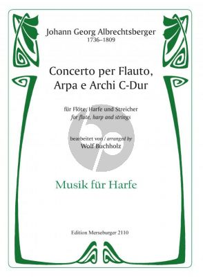 Albrechtsberger Concerto C-major Flute-Harp and Strings Score (transcr. by Wolf Buchholz)
