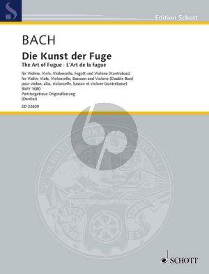 Bach ie Kunst der Fuge BWV 1080 für Violine-Viola-Violoncello-Fagott und Violone (Kontrabass) Partitur (eingerichtet von Hans-Eberhard Dentler)