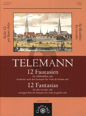 Telemann 12 Fantasien bearbeitet nach den Fantasien für Viola da Gamba solo für Altblockflöte solo (arr. Monika Mandelartz)