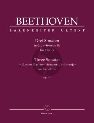 Beethoven 3 Sonatas Op.31 Piano solo (edited by Jonathan Del Mar) (Barenreiter-Urtext)