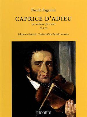 Paganini Caprice d'adieu Violin solo (edited by Italo Vescovo)