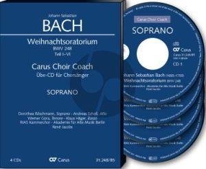 Bach Weihnachtsoratorium Kantaten I-VI. Sopran Chorstimme 4 CD's (Carus Choir Coach)