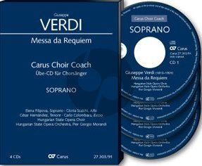 Verdi Messa da Requiem SMsTB soli-SATB-Orch. Bass Chorstimme 4 CD's (Carus Choir Coach)