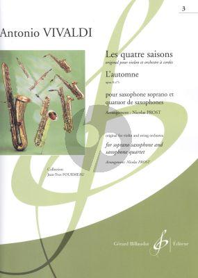 Vivaldi Les quatre saisons - L'Automne Op.8 No.3 Soprano Saxophone and Saxophone Quartet (Score/Parts) (transcr. Nicolas Prost)