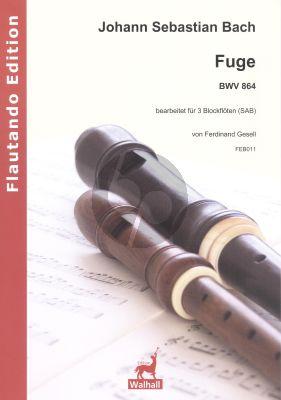 Bach Fuga I-19 BWV 864 3 Blockflöten (SAB) (Part./Stimmen) (arr. Ferdinand Gesell)
