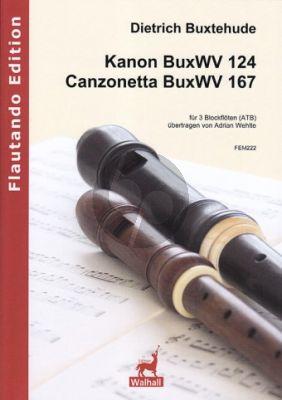 Buxtehude Kanon BuxWV 124 & Canzonetta BuxWV 167 3 Blockflöten (ATB) (Part./Stimmen) (arr. Adrian Wehlte)