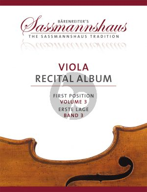Viola Recital Album Vol.3 7 Recital Pieces in First Position for Viola and Piano or Two Violas (Christoph Sassmannshaus - Melissa Lusk)