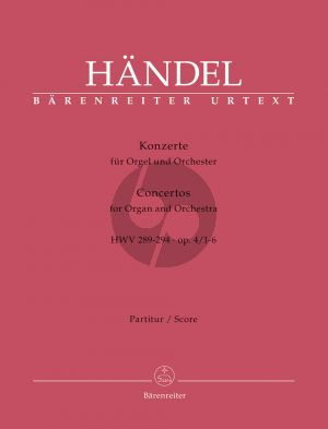Handel Organ Concertos Op.4 No.1-6 HWV 289-294 Full Score Set (Terence Best and William Gudger) (Barenreiter-Urtext)