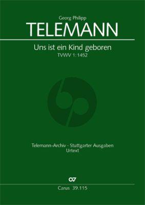Telemann Uns ist ein Kind geboren TWV1:1452 soli SSATB, Coro SATB, 2 Fl, 2Ob, 2Vl, Va, Bc Partitur (Klaus Hofmann)