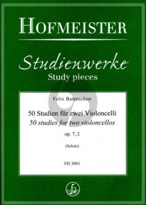 Battanchon 50 Studien Op.7 Vol.2 2 Violoncellos (ed. Walter Schulz)