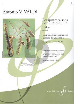 Vivaldi Les quatre saisons - L'Hiver Op.8 No.4 Soprano Saxophone and Saxophone Quartet (Score/Parts) (transcr. Nicolas Prost)