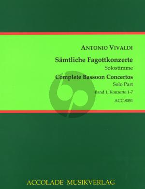Vivaldi Samtliche Fagottkonzerte - Complete Bassoon Concertos Vol.1 (No.1-7) Urtext Fagott Solo Stimme - Bassoon Solo Part Trevor Cramer/Bodo Koenigsbeck