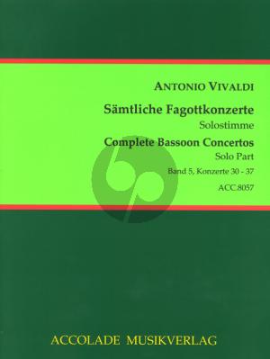 Vivaldi Samtliche Fagottkonzerte - Complete Bassoon Concertos Vol.5 (No.30-37) Urtext Fagott Solo Stimme - Bassoon Solo Part Trevor Cramer/Bodo Koenigsbeck