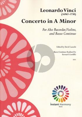 Vinci Concerto a-minor Treble Recorder-Violin[s]-Bc (Score/Parts) (edited by David Lasocki)