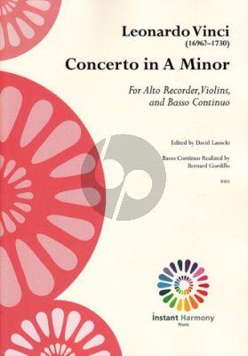 Vinci Concerto a-minor Treble Recorder-Violin[s]-Bc (Score/Parts) (edited by David Lasocki)