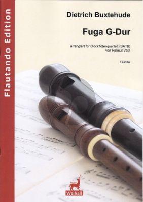 Buxtehude Fuga G-dur 4 Blockflöten (SATB) (Part./Stimmen) (arr. Helmuth Voth)