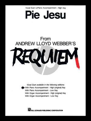 Lloyd Webber Pie Jesu from Requiem for 2 High Voices-Piano