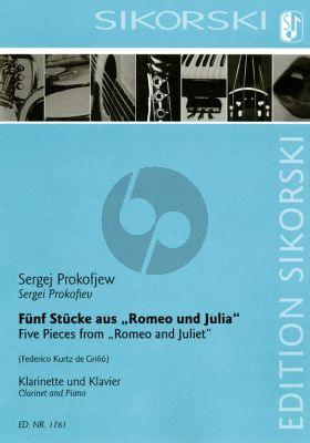 Prokofieff 5 Pieces from Romeo and Juliet for clarinet and piano