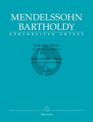 Mendelssohn Lied ohne Worte Op.109 für Violoncello und Klavier (R. Larry Todd) (Barenreiter-Urtext)