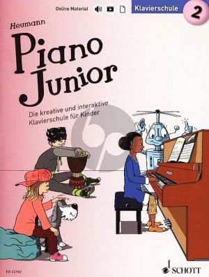 Heumann Piano Junior: Klavierschule 2 (Die kreative und interaktive Klavierschule für Kinder) (Book with Audio online) (german edition)