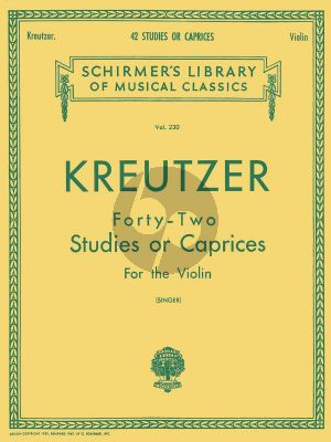 Kreutzer Kreutzer 42 Studies Violin (edited by Edmund Singer)