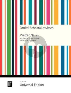 """Shostakovich Walzer No. 2 aus """"Suite für Varieté-Orchester"""" für 4 Gitarren (Partitur und Stimmen) (arr. Michel Démarez)"""