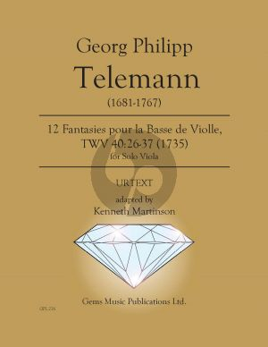 Telemann 12 Fantasies pour la Basse de violle for Viola solo TWV 40:26-37 (adapted Kenneth Martinson) (Urtext)