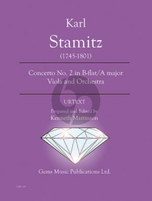 Stamitz Concerto No. 2 in B-flat / A major Viola and Orchestra Score - Parts (Prepared and Edited by Kenneth Martinson) (Urtext)