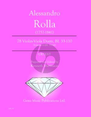 Rolla 78 Duets Volume 6 BI. 51 - 54 Violin - Viola (Prepared and Edited by Kenneth Martinson) (Urtext)