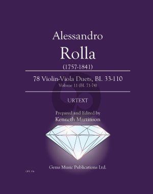 Rolla 78 Duets Volume 11 BI. 71 - 74 Violin - Viola (Prepared and Edited by Kenneth Martinson) (Urtext)