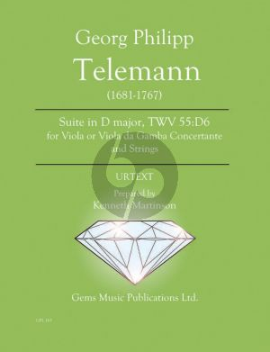 Telemann Suite in D major TWV 55:D6 - Viola or Viola da Gamba Concertante and Strings Score - Parts (Prepared and Edited by Kenneth Martinson) (Urtext)