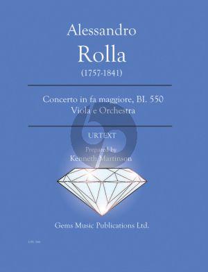 Rolla Concerto in fa maggiore BI. 550 Viola e Orchestra Score - Parts (Prepared and Edited by Kenneth Martinson) (Urtext)
